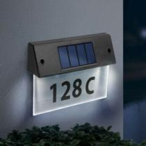 Szolár házszámfény - átlátszó plexi - hidegfehér LED - 18 x 20 cm